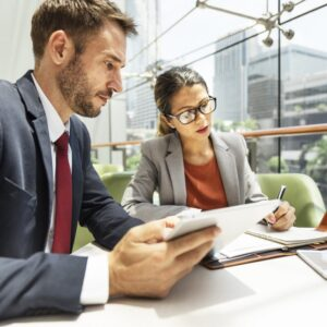 Business People Discussion Digital Tablet Technology Togethernes