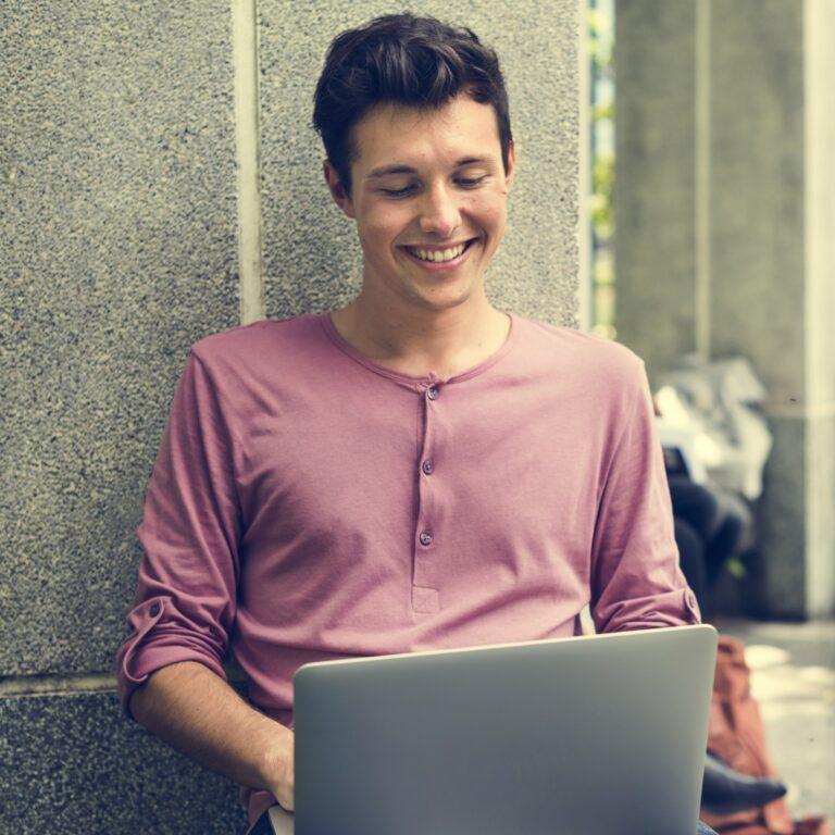 Boy Using Laptop Online Knowledge Concept